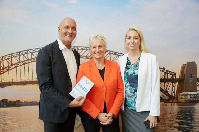 Peter Diaz, Emi Golding and Kerryn Phelps with Mental Wealth book
