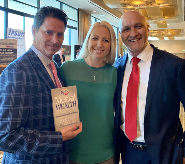 Dan Eckelman from USA with Emi Golding and Peter Diaz with Mental Wealth book