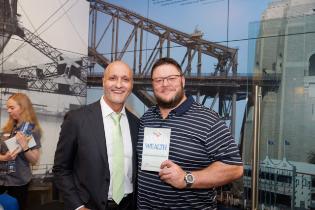 Glenn Lazarus (Rugby Legend) with Peter Diaz and the Mental Wealth book