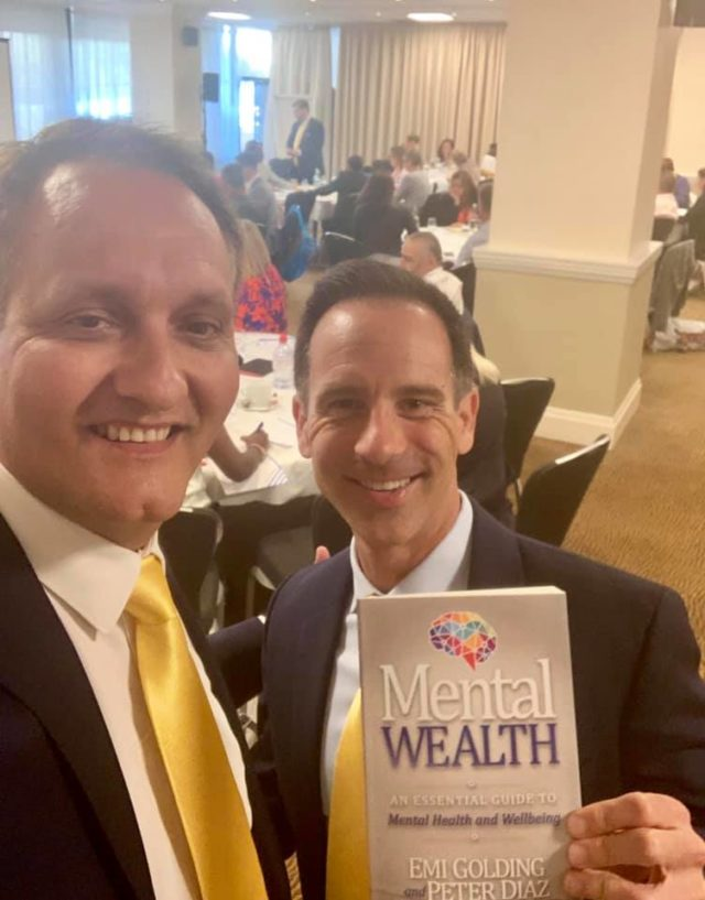 Jeff Fallon and Peter Diaz with Mental Wealth book