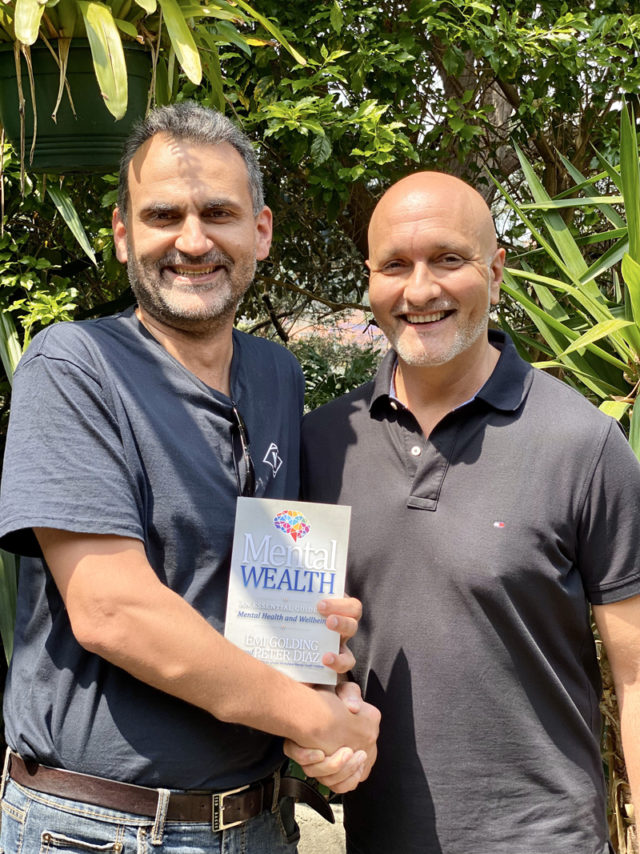 Stephen Stavroulakis with Peter Diaz and the Mental Wealth book